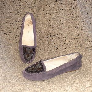 HOUSE OF HARLOW-1960 Millie-Purple Suede Beaded Moccasins